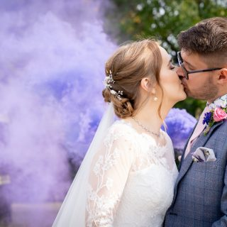 wedding smoke bomb at the walled garden